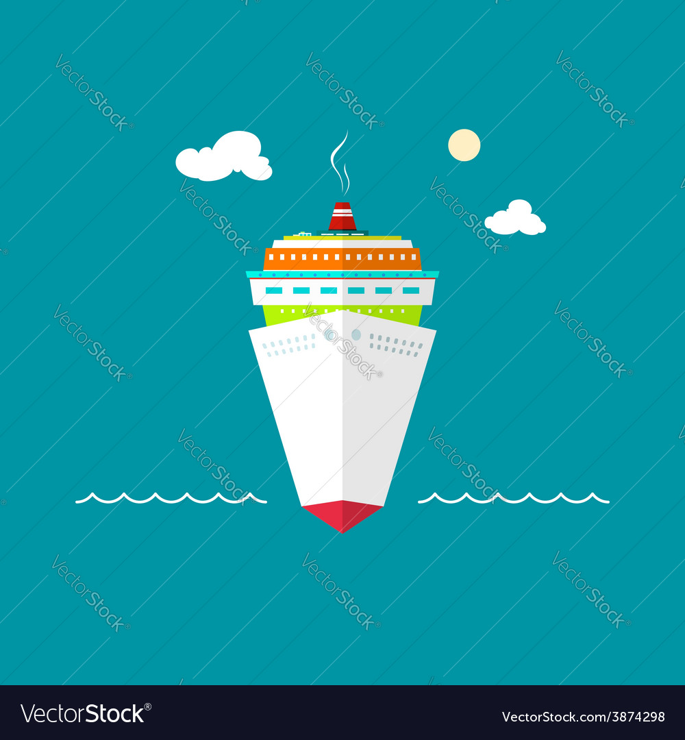 Cruise ship at sea or in the ocean on a sunny day vector | Price: 1 Credit (USD $1)
