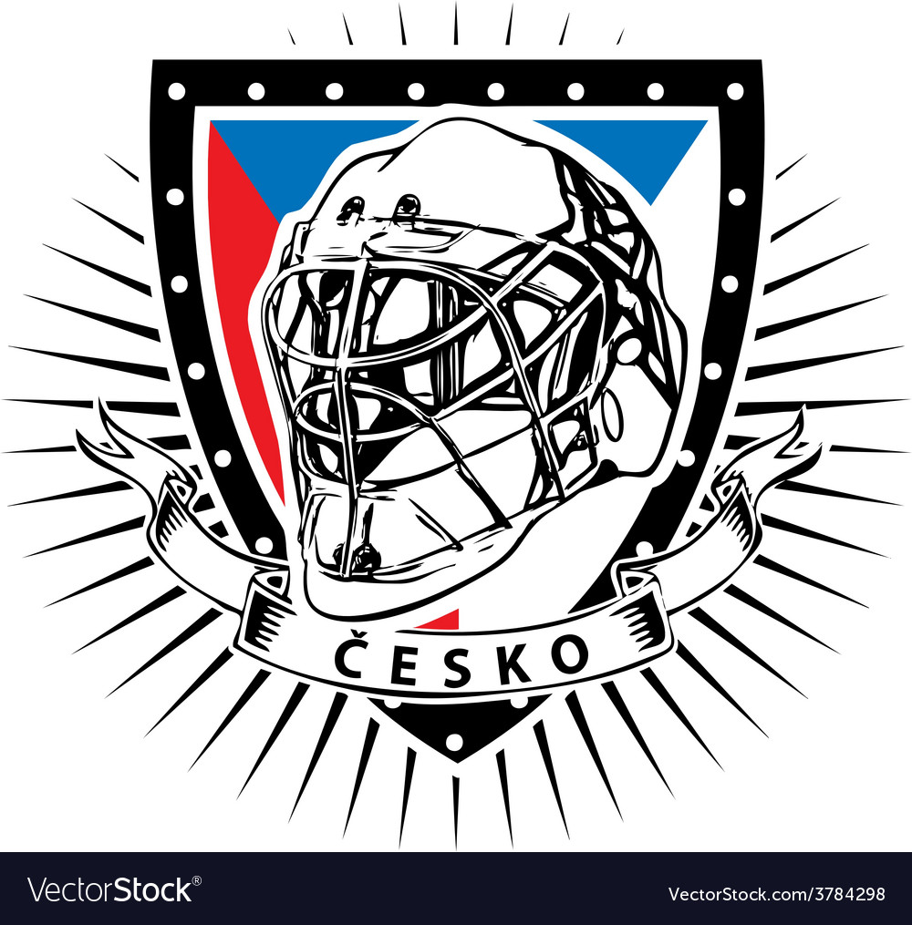 Czech republic ice hockey helmet shield vector | Price: 3 Credit (USD $3)