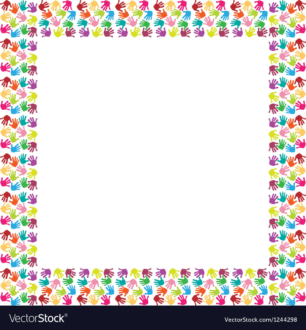 Frame of colorful hands vector | Price: 1 Credit (USD $1)