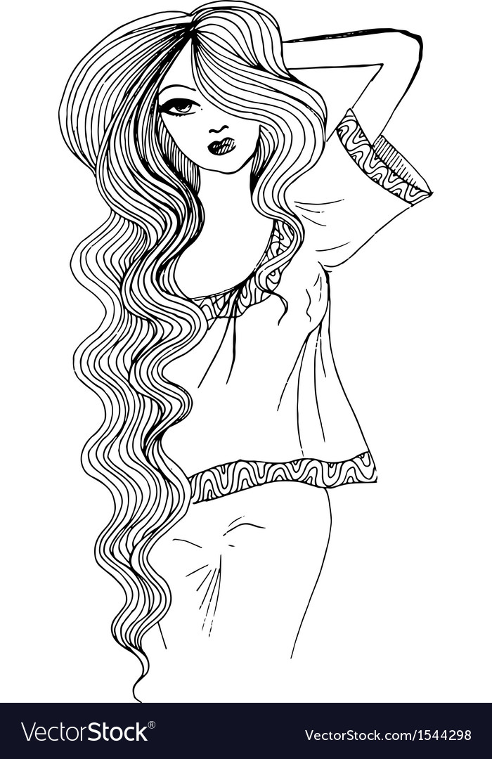 Ink pen sketch of a beautiful girl vector | Price: 1 Credit (USD $1)