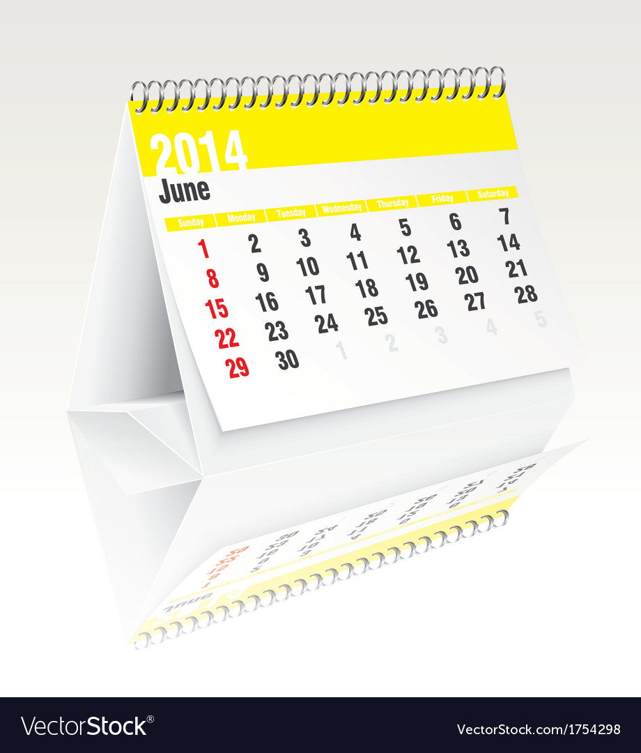 June 2014 desk calendar vector | Price: 1 Credit (USD $1)