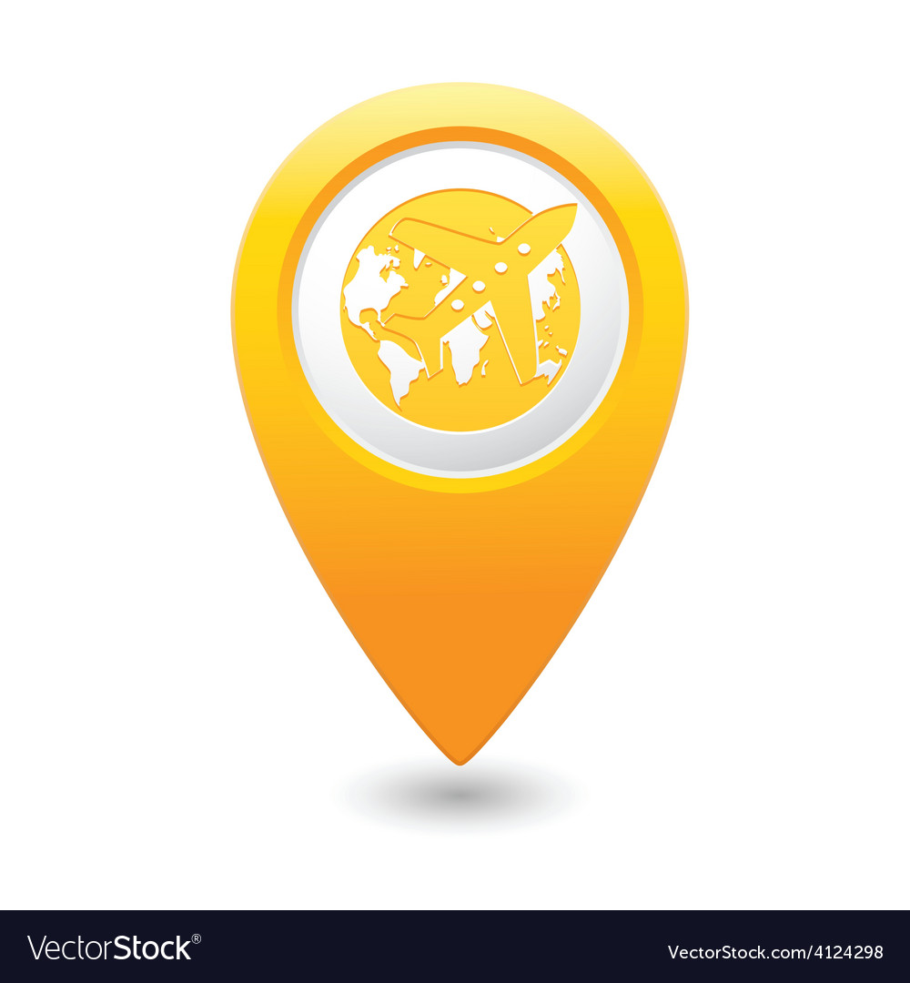 Plane and globe map pointer yellow vector | Price: 1 Credit (USD $1)
