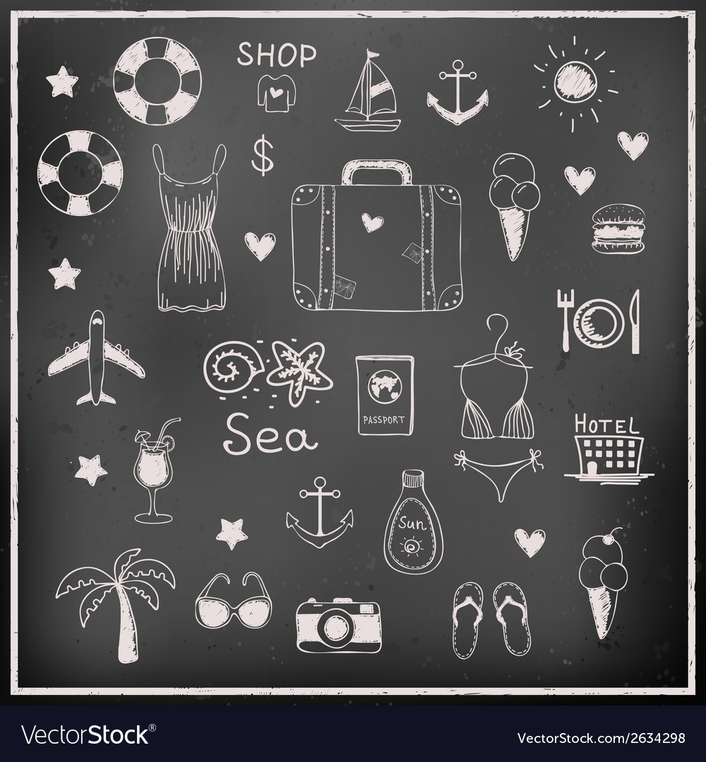 Set of chalk board travel elements vector | Price: 1 Credit (USD $1)