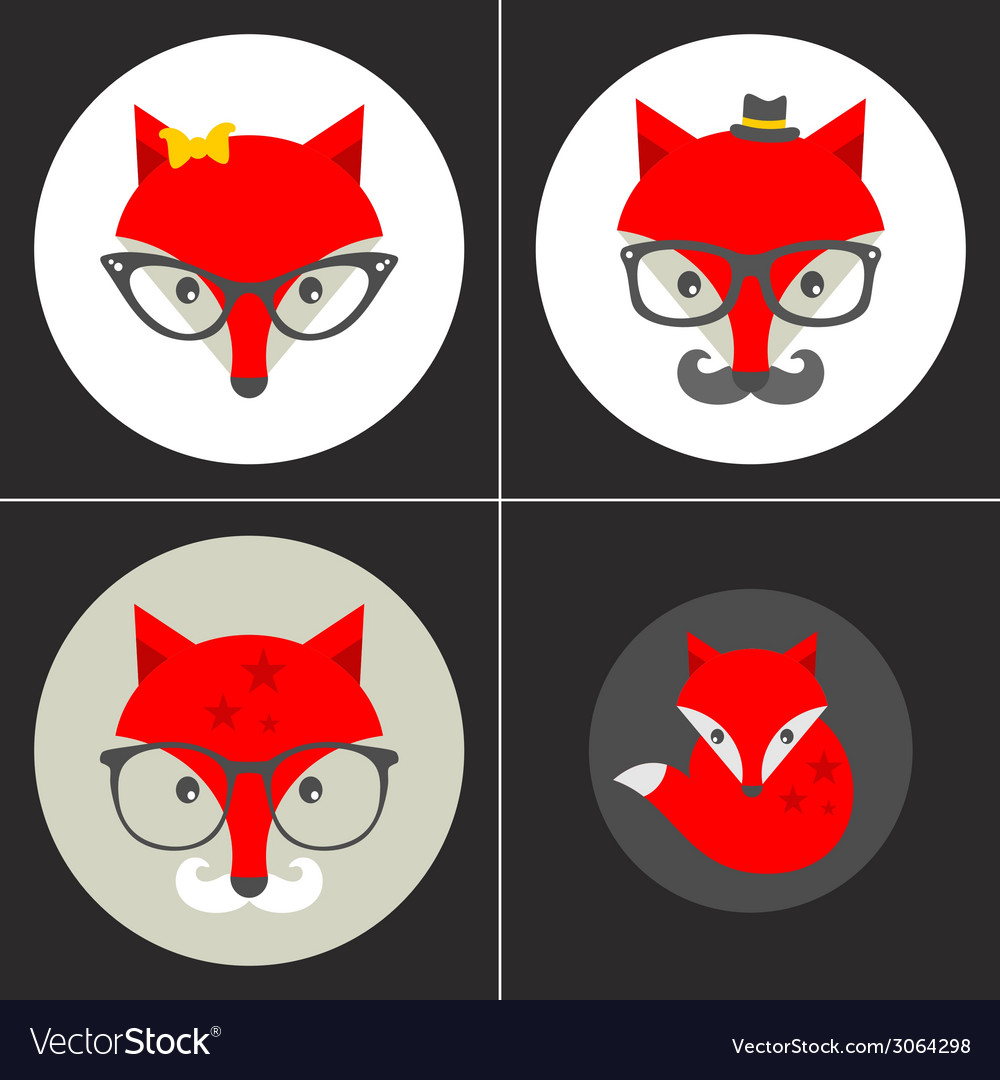 Set of cute seamless patterns with hipster fox vector | Price: 1 Credit (USD $1)