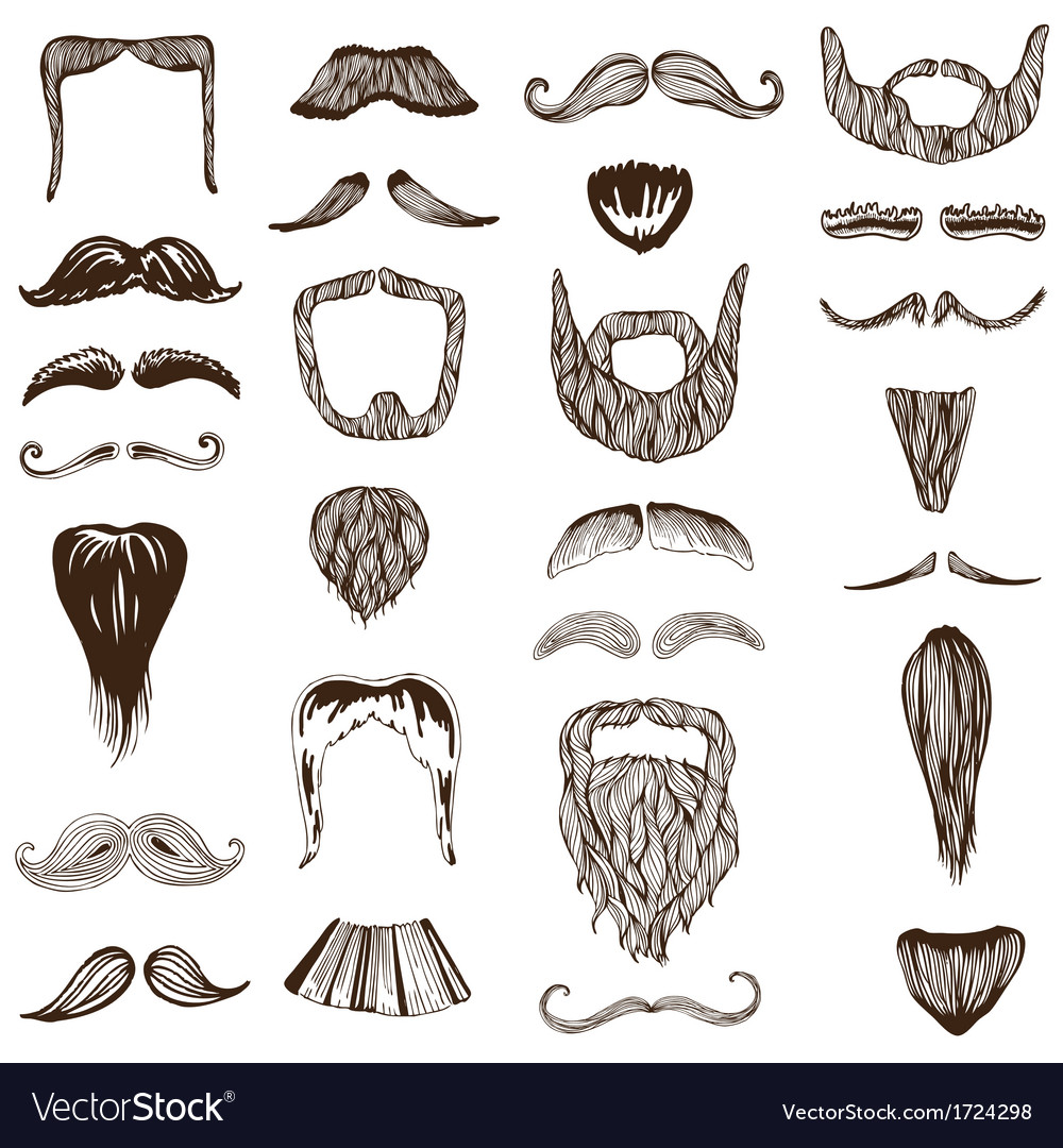 Set of hand drawn moustache mustache vector | Price: 1 Credit (USD $1)