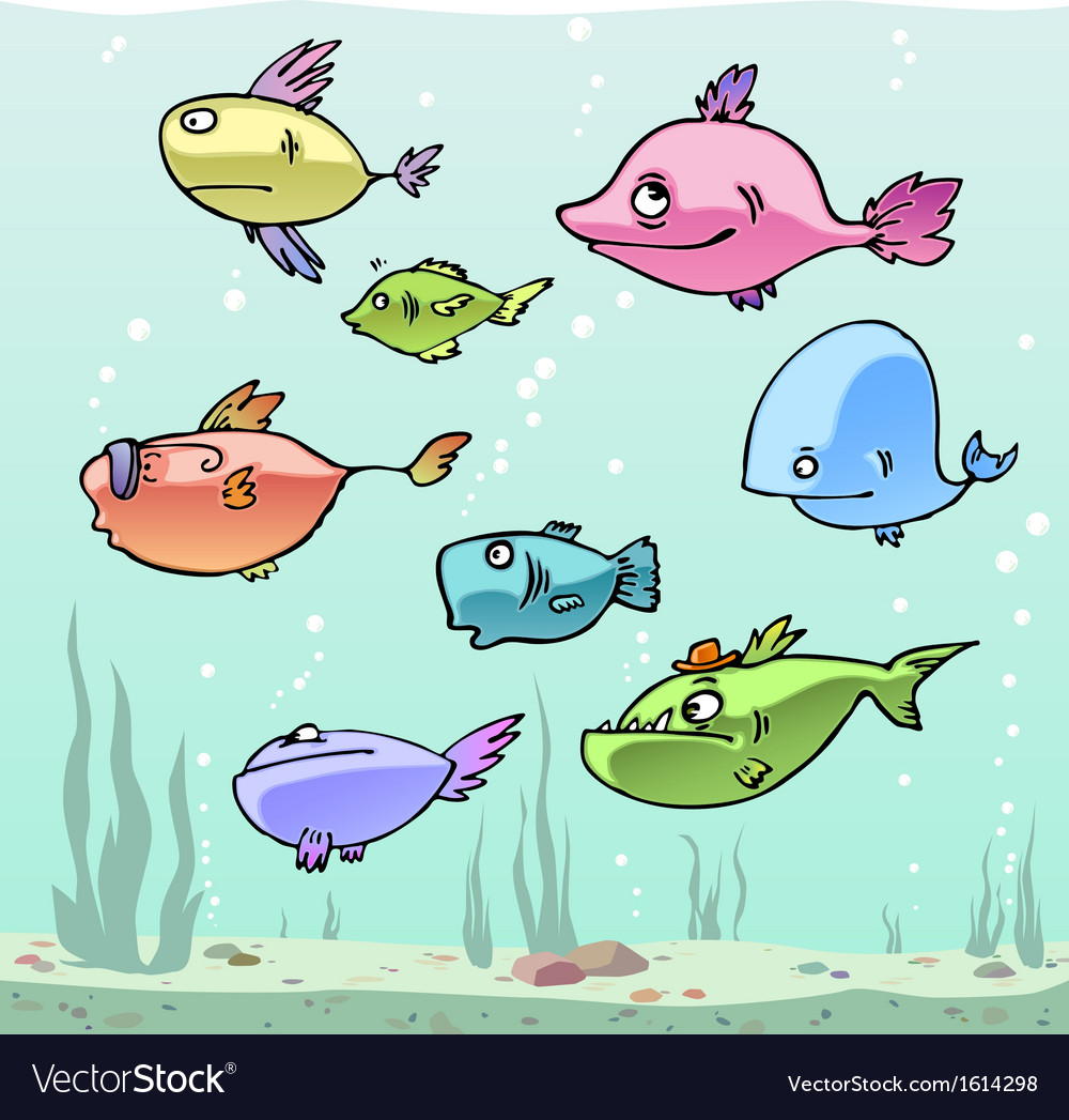 Set of the funny cartoon fishes in their habitat vector | Price: 1 Credit (USD $1)