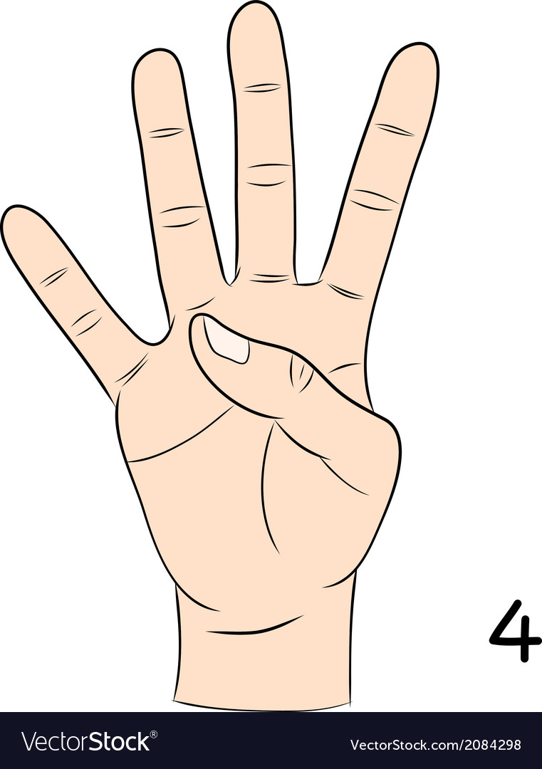 Sign language number 4 vector | Price: 1 Credit (USD $1)