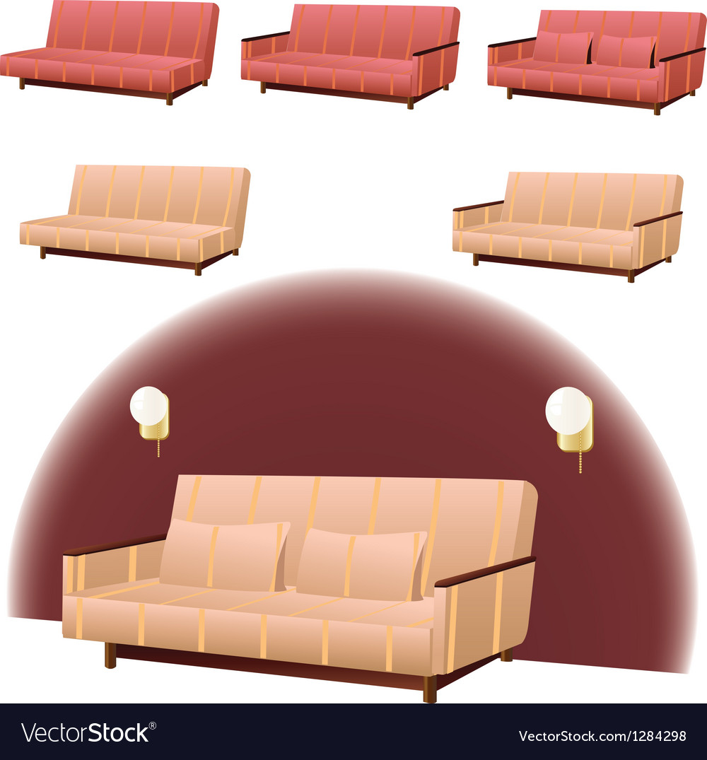 Sofa cream and red vector | Price: 1 Credit (USD $1)