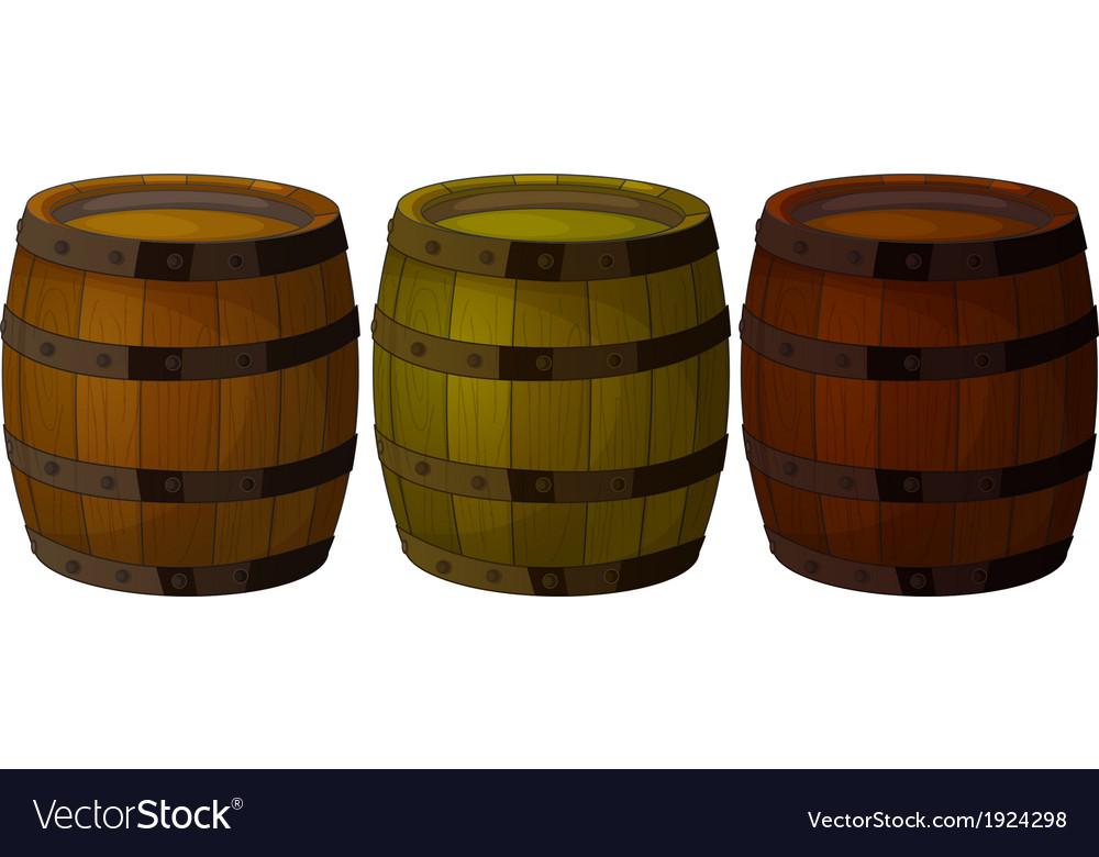 Three wooden barrels vector | Price: 1 Credit (USD $1)