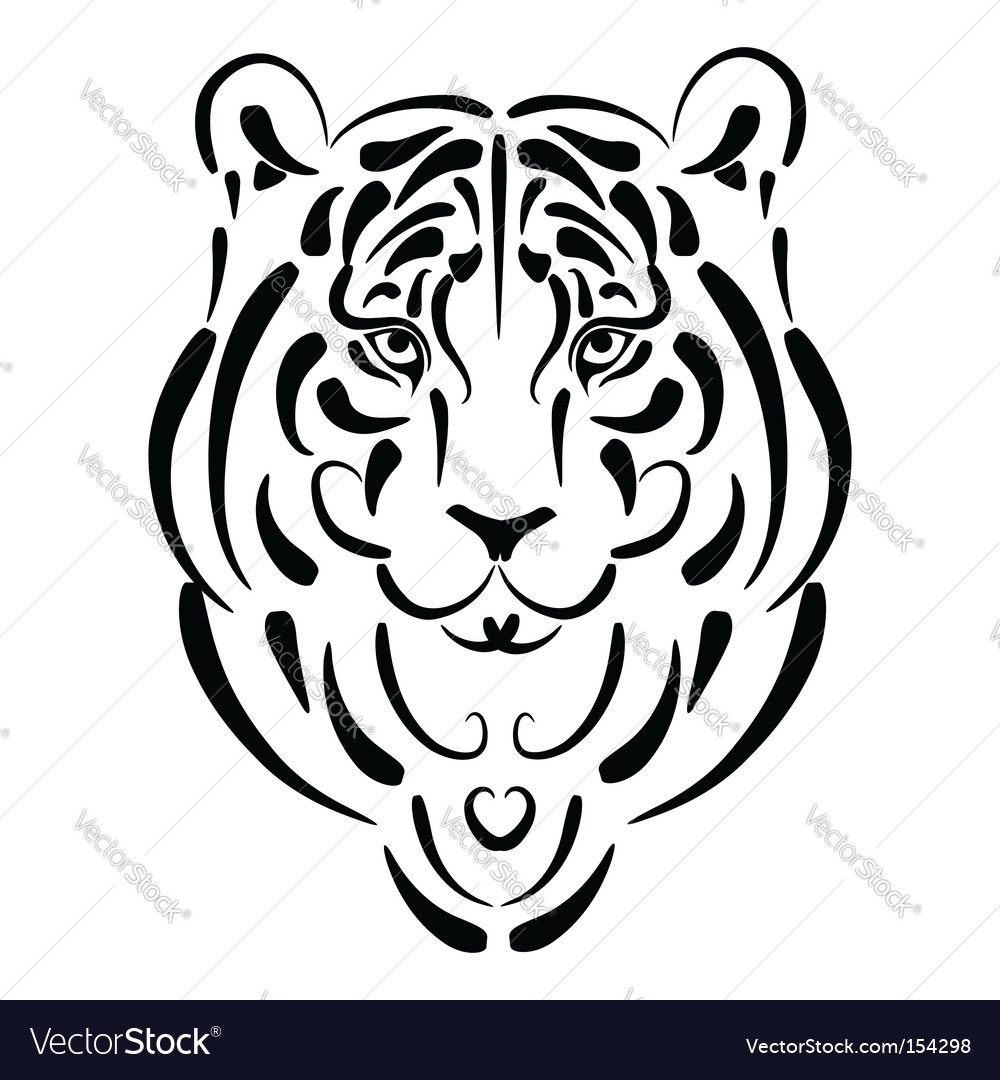 Tiger stylized silhouette vector | Price: 1 Credit (USD $1)