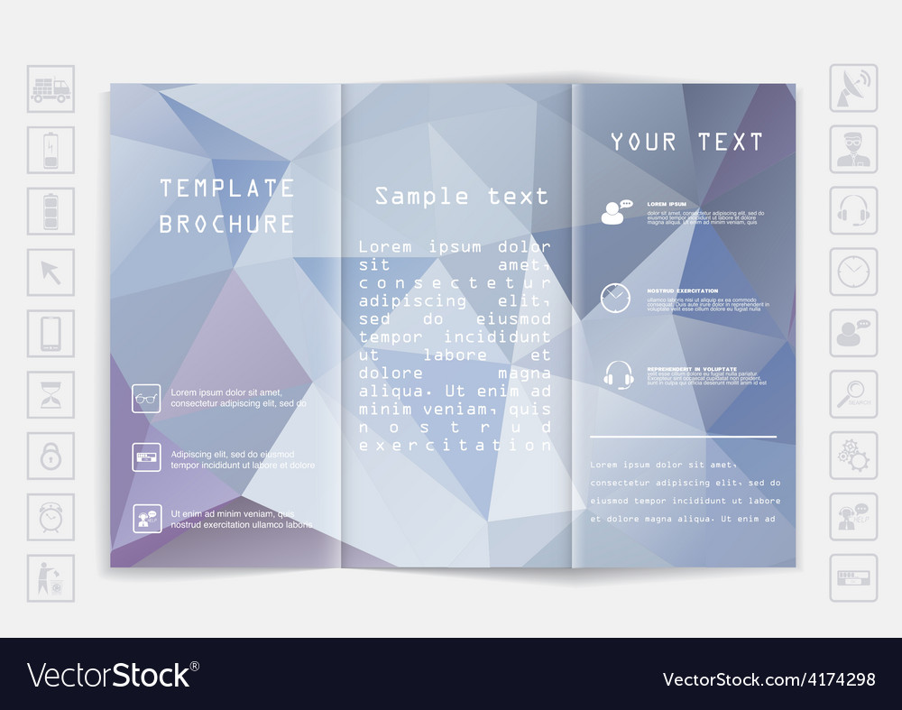 Tri-fold brochure mock up design polygonal vector | Price: 1 Credit (USD $1)