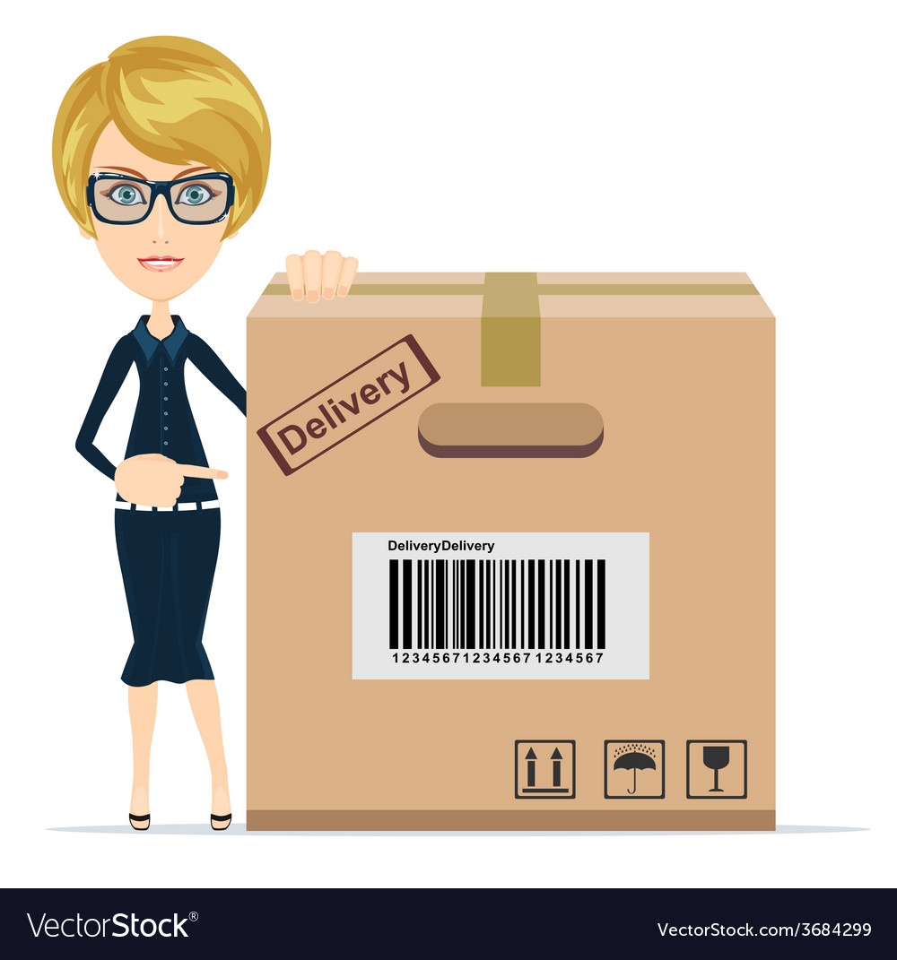 Business woman pointing to a large cardboard box vector | Price: 1 Credit (USD $1)