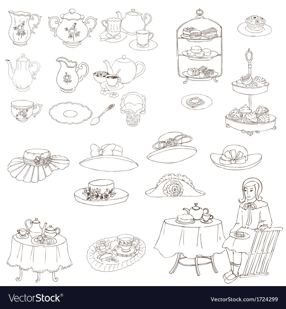 English tea party set vector | Price: 1 Credit (USD $1)