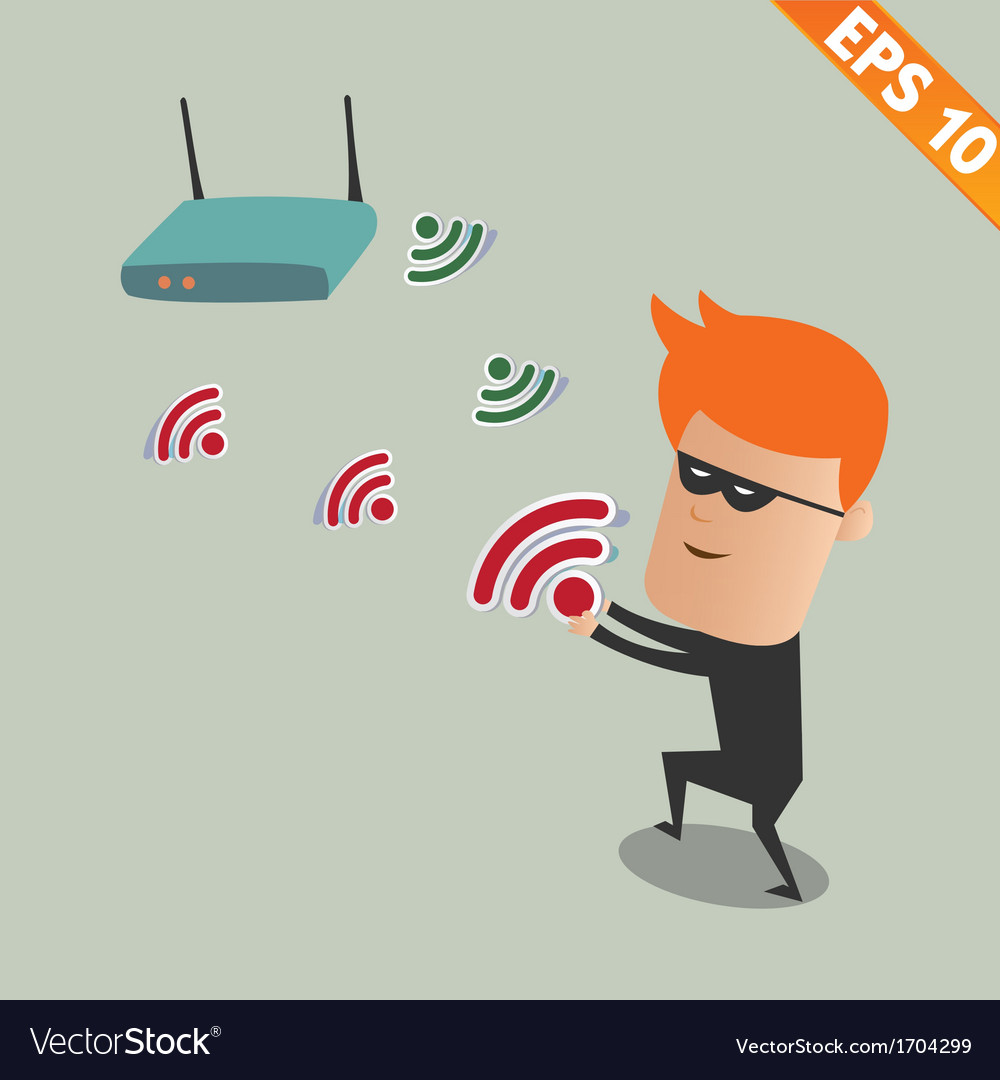 Hacker sniff wireless network - - eps10 vector | Price: 1 Credit (USD $1)