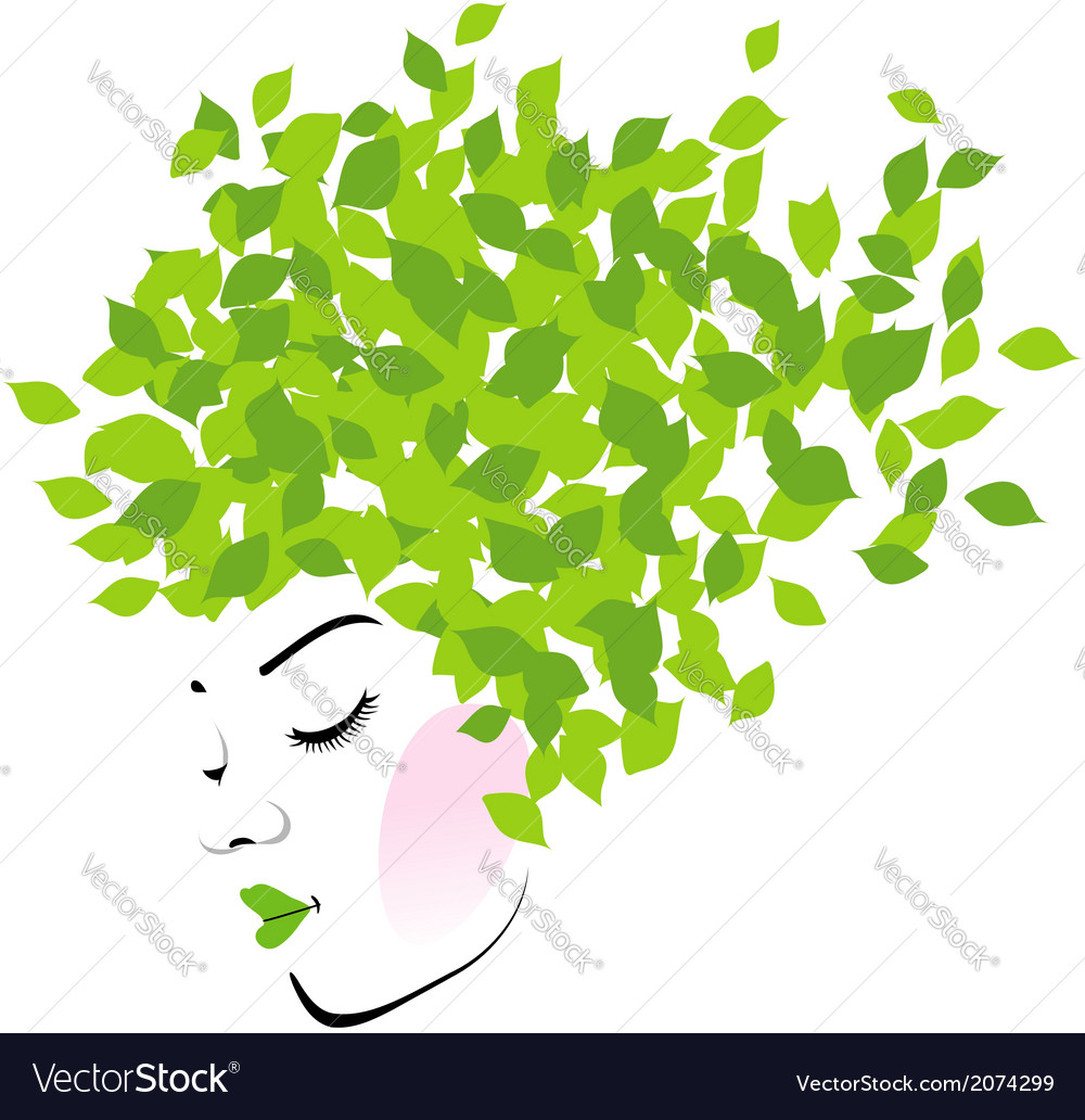 Hair with green leaves- organic hair product logo vector | Price: 1 Credit (USD $1)