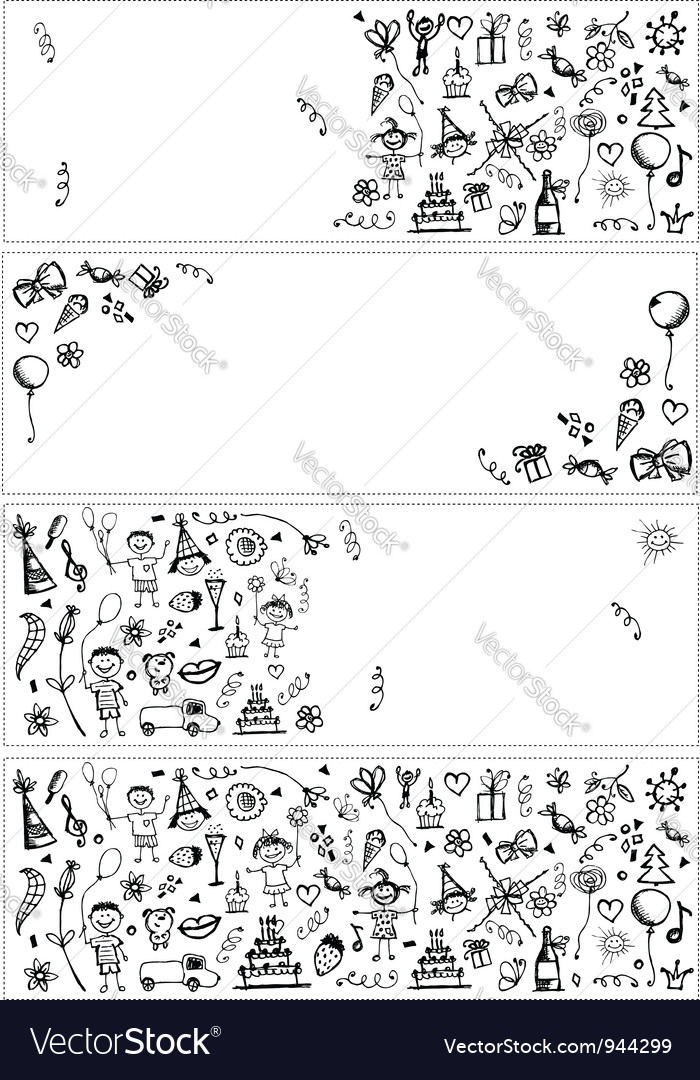 Holiday sketch banners for your design vector | Price: 1 Credit (USD $1)