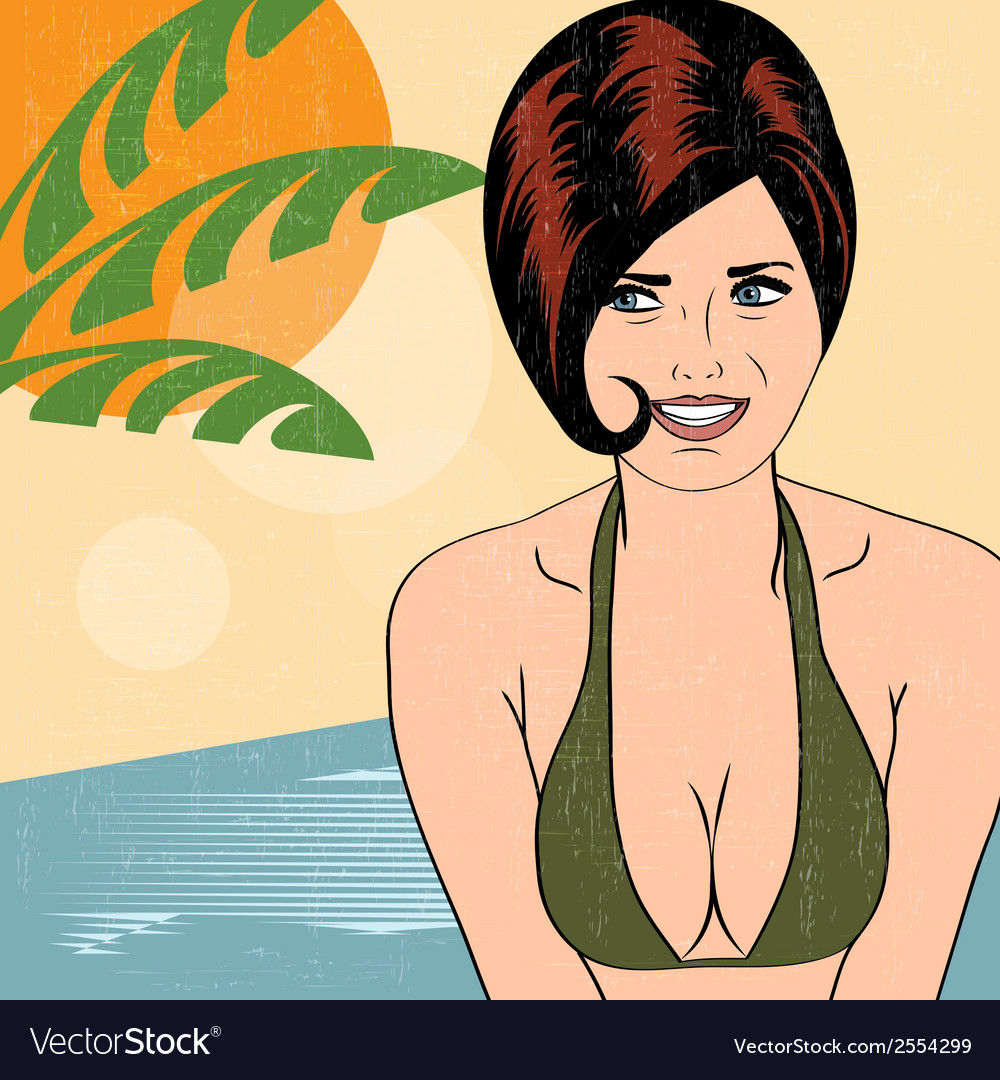 Hot pop art girl on a beach vector | Price: 1 Credit (USD $1)