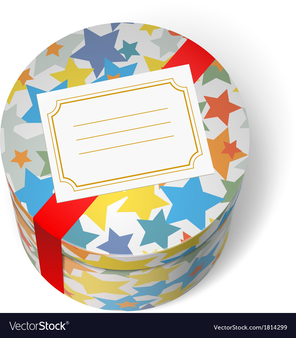Party present box with stars and red ribbon vector | Price: 1 Credit (USD $1)