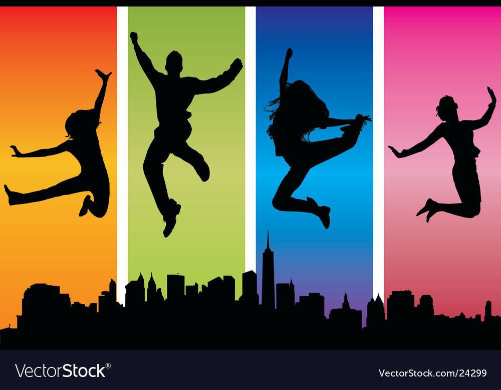 People jumping for joy vector