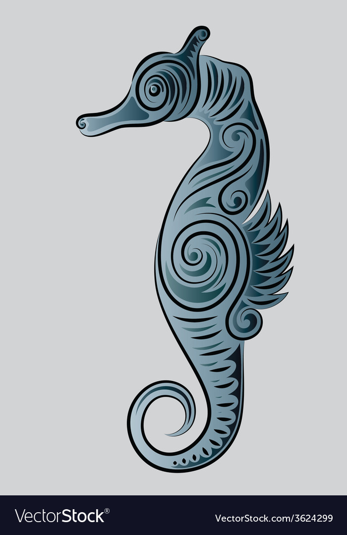Sea horse ornament vector | Price: 1 Credit (USD $1)