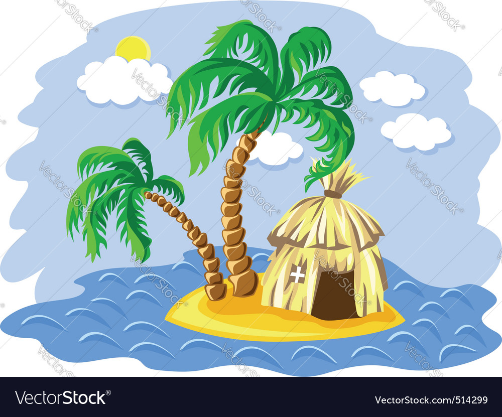 Wo palm trees and hut on an is vector | Price: 1 Credit (USD $1)
