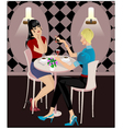 Two girls in cafe version 2 vector