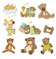Funny teddy bears set isolated on white background vector