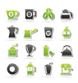 Different types of coffee industry icons vector
