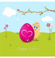 Easter chicken with big egg vector