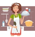 Beautiful woman chef vector