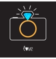 Photo camera and diamond shining flash gold vector