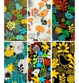 Set of vertical cards with birds and flora vector