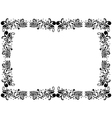 Black and white blank border with floral elements vector