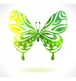 Green color background with watercolor butterfly vector