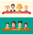 Set of isolated flat design happy family icon vector