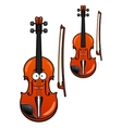Smiling cartoon violin character with bow vector