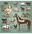 Farm animals vintage set vector