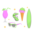 Collection of beach and summer elements vector
