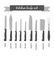 Types of kitchen knives set vector