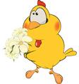 Chicken and flowers cartoon vector