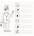 Background with a doctor who gives directives vector