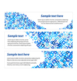 Set of banners with blue diamonds texture vector