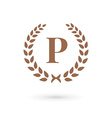 Letter p laurel wreath logo icon design template vector