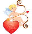 Cute angel with arrow and bow sitting on red heart vector