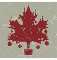 Retro-vintage red christmas maple leaf card vector