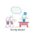 Family doctor treats the mother father and child vector