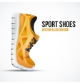 Running curved orange shoes bright sport sneakers vector