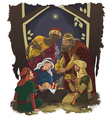 Nativity scene jesus mary joseph and three kings vector