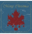 Retro - vintage red christmas maple leaf card vector