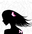Woman profile with pink butterflies vector